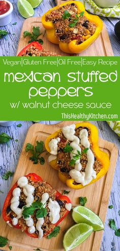 Mouth watering, super flavourful, Mexican stuffed peppers with quinoa, corn and black beans, and topped with delicious walnut cheese sauce. Italian Stuffed Peppers, Vegan Stuffed Peppers, Dairy Free Recipes, Vegetarian Recipes, Healthy Recipes, Healthy Food, Vegan Food, Beef Recipes, Yummy Recipes