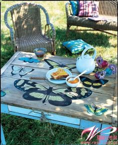 Garden Table Idea- would be so sweet made out of a coffee table hight as a little girl size table!