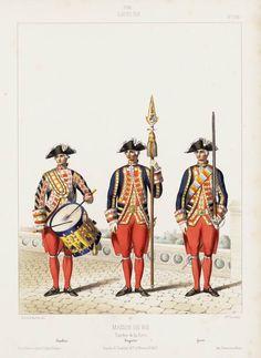 1786. Louis XVI. Maison du Roi: Gardes de la porte; Tambour; Brigadier; Garde