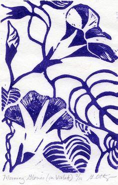 Morning Glory Linocut (in violet)