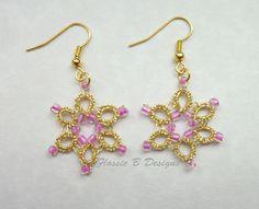 Gold metallic tatted flower earrings boho earrings birthday