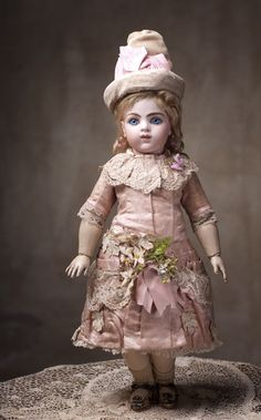 """Very Rare French Bisque Bebe Modele by Leon Casimir Bru with Wooden-Articulated Body, 17"""" (42 cm.)"""