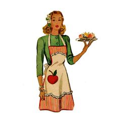 1940s Bib Apron McCall 1097 Vintage Sewing by JFerrariDesigns, $41.00
