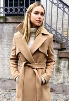 awesome Le Fashion Blog Winter Style Wool Camel Belted Trench Coat Ribbed Cream Turtleneck Sweater Via Look De Pernille