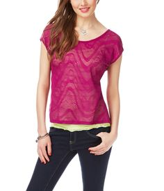 Sheer lace inset top from Aeropostale