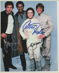 Star Wars Cast (The Empire Strikes Back) Signed 8x10 Autograph Photo - Harrison Ford, Mark Hamill, Carrie Fisher and Billy D. Williams - Certificate of Authenticity Included - Authentic Hand-Signed Autograph $299.00 on GoAntiques. #starwars | (PS- This image isn't mine ↑ )