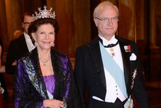 King Carl Gustav and Queen Sofia of Sweden at the King's dinner for the Nobel Laureates 12/12
