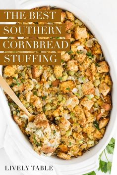 This is THE best Southern cornbread stuffing recipe for Thanksgiving. It's rich, savory and full of flavor without using a pound of butter. This traditional stuffing recipe needs to be on your holiday table! Plus, I'm sharing a make-ahead option and my vegetarian and gluten-free options too!