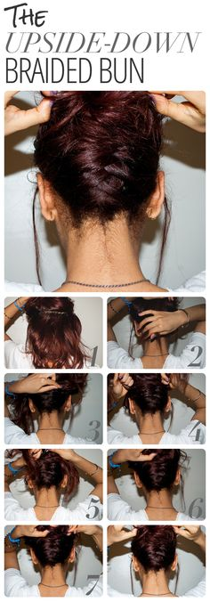 Upside Down Braided Bun- an updo that works on short hair too!