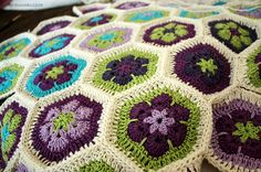 Purple and Green African Flower Crochet Medallions, I know I have this pattern but I pin alot of these because of the color combinations! Absolutely gorgeous!