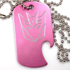 "Decepticon Baby Pink Pendant With 30"" Chain Dog Tag Aluminum Bottle Opener EDG-0330"
