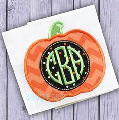 Cute Monogram Pumpkin applique design is available in sizes to fit hoops 4x4, 5x7, 6x10. Absolutely adorable for Halloween.  Formats included: PES,