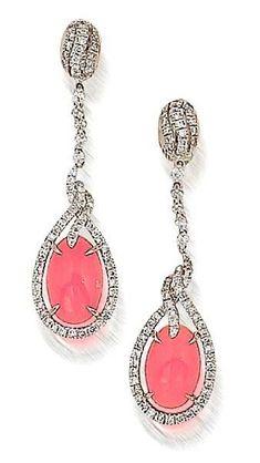 conch pearl and diamond earrings, Bonham's