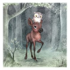 A baby moose and an owl. Illustration by Sydney Hanson.