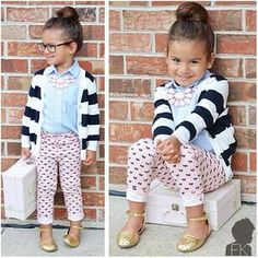 Kids children's girls fashion style: blue shirt top, navy & white striped cardigan knit, pink printed pants, gold shoes sandals