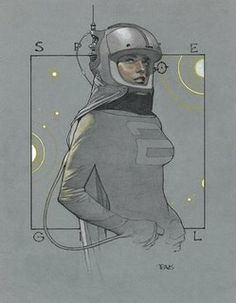 Space Girl by Travis Charest. Character Concept, Character Art, Concept Art, Art And Illustration, Comic Kunst, Comic Art, Norman Rockwell, Art Pulp, Travis Charest
