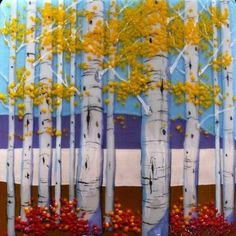 "Fused Glass ""Birch Trees"" (16 x 16 Flat) | Fusing | Pinterest"