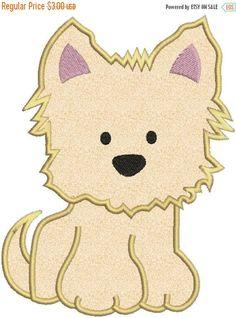 SALE 65% Off Yorkie Puppy Dog Applique Machine Embroidery