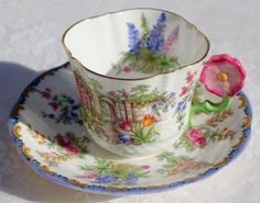 RESERVED FOR FL: Stunning flower-handle tea by FineEnglishChina