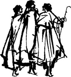drawing of the Road to Emmaus.