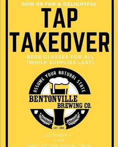 #DrinkLocal #InvestLocal #Repost @bentonvillebrewing  Can't wait to take over the taps at @thesocialtaco in Rogers tonite!  Come see us and grab a taco it is #tacotuesday after all . #taptakeover #craftbeer #drinklocal