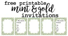 Mint and Gold invitations free printable. Customize these invitations for your wedding, bridal shower, baby shower, or mint and gold theme birthday party.