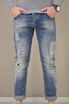 Ανδρικό παντελόνι denim patchwork PANT-5021   Παντελόνια τζίν - Jeans & Denim Jeans, Fashion, Moda, Fashion Styles, Fashion Illustrations, Denim, Denim Pants, Denim Jeans