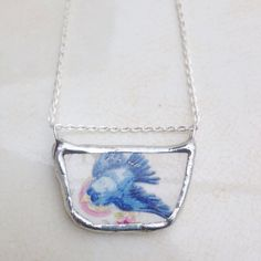 Vintage Bluebird China Necklace by asthecrowfliesandco on Etsy