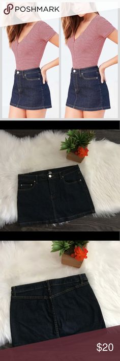 """BDG Urban Outfitters denim mini skirt BDG ~ Urban Outfitters Denim Mini Skirt. Size 31.  ⚙️Length ~ 13"""" ⚙️Waist ~ 17"""" ⚙️BNWOT ⚙️Smoke and pet free home. ****Listing as XL since there isn't an option for 31. Please check measurements in the listing as well as my pictures. ****Dark blue denim. BDG UO Skirts Mini"""