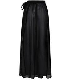 Black Sheer Sarong Maxi Skirt | New Look