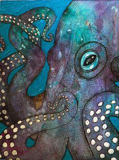 Original Mixed Media Painting Octopus Art by LynnetteShelley