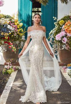 galia lahav couture fall 2018 bridal off the shoulder straight across neckline full embellishment elegant fit and flare wedding dress sweep train (16) mv -- Galia Lahav Couture Fall 2018 Wedding Dresses