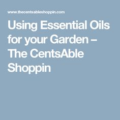 Using Essential Oils for your Garden – The CentsAble Shoppin