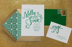 Emerald green and gold - St Patrick's Day Wedding Inspiration Green Wedding Invitations, Gold Invitations, Wedding Stationary, Wedding Paper, Wedding Cards, Wedding Day, Gold Wedding, Envelope Pattern, Emerald Green Weddings