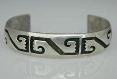 Vintage Pawn Hopi Indian Sterling Silver Overlay Bracelet