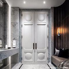 A stylish marriage of materials and substance . Bad Inspiration, Bathroom Inspiration, Luxury Interior, Interior Design, Interior Doors, Cupboard Design, Wardrobe Doors, Contemporary Decor, Bathroom Furniture