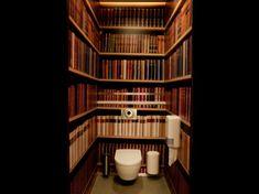 Bookshelf wallpaper in toilet, need l say more. inspirational decorating
