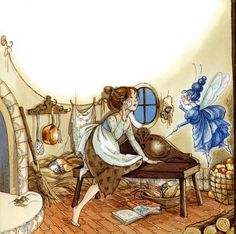 """""""Cinderella"""" illustrated by Hilary Knight  {check out the kitty sleeping in the corner}  (full post: http://cizgilimasallar.blogspot.com/2012/02/hilary-knight-cinderella.html#)"""