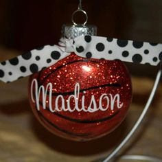 Personalized Basketball Ornament Year can by put on the back for no additional charge!! Check it out!! More sports available. https://www.etsy.com/listing/200847959/personalized-basketball-ornament?ref=shop_home_active_10