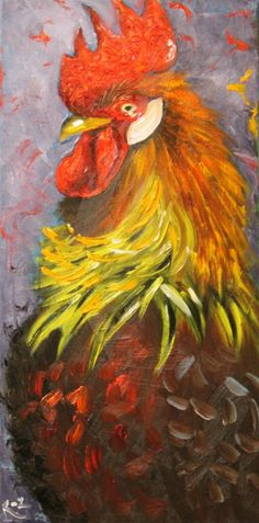 Rooster - Original painting. A rug hooking idea.