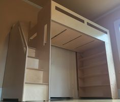 Loft bed with storage shelves and staircase by BetweenPosts on Etsy
