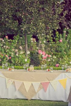 This would be a fun cake gift table decoration with wedding color flags. Head Table Wedding, Wedding Book, Wedding Things, Our Wedding, Cute Wedding Ideas, Wedding Inspiration, Wedding Vendors, Wedding Events, Red Yellow Weddings