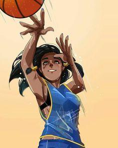 Young Pharah practicing basketball