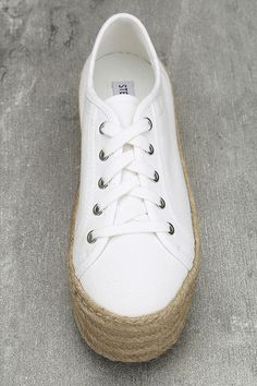88905121fd018 Steve Madden Hampton White Flatform Espadrille Sneakers