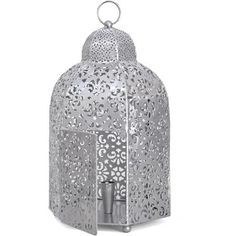 Better Homes and Gardens Perforated Metal Lantern, Silver - Walmart.com