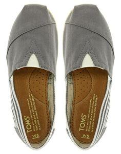 TOMS - University - Scarpe piatte stile espadrillas color grigio cenere a righe