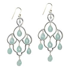 A Stunning pair of Chandelier Earrings. These lovely Silver earrings are set with 7 faceted Aqua Chalcedony stones. The Layla earrings are great for day or evening, and will add a touch of glamour to any outfit.  Total length: 6.5cm.   All our Jewellery comes gift wrapped in our SuShilla Jewellery box and tied with pretty ribbon. Your order will be dispatched within 2 working days.  View more jewellery from the Layla collection.