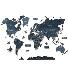 DEEP OCEAN: 3D World Wooden Map by GaDenMap. Wood World Map is a unique wall décor idea for your home! World Travel Map, Push Pin Map, Travel Map with Pins. Wood World Map can be used as a travel map. Pin board for your ideas, business development places, travel destination and just random notes of happiness. Large wall art decor and a place for inspiration! #worldmap #bedroomdecor #homedecorideas