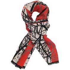 e7b887bfe0073 Buy Chesca Ruby Striking Forest Pattern Scarf £45 Red Shawl, Blacked  Online, Red
