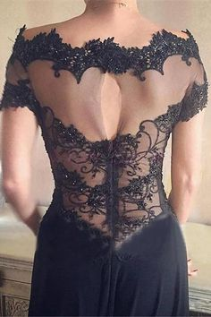 Black Lace Off-The-Shoulder Scoop Long Prom Dress Evening Dress at promnova.com